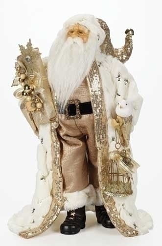 18-inch Gold Santa With Fur Coat Figurine