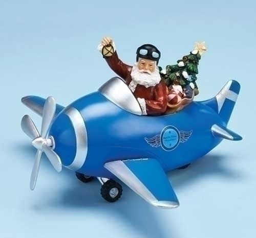 11.5-inchPlane With Santa Figurine Spining