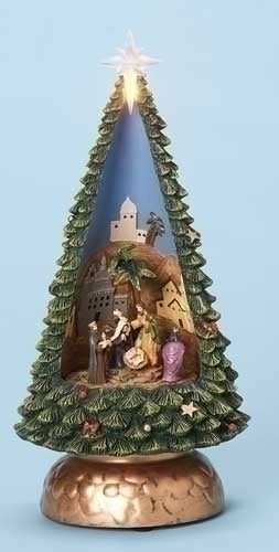 Musical 10-inch Nativity In Tree Figurine