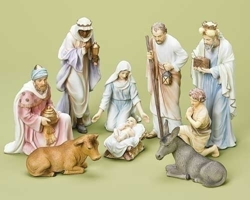 9Pc Saint 10-inchPastel Nativity Figurine