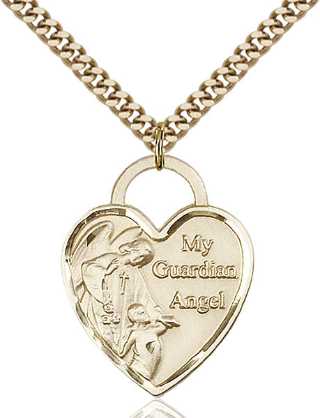 Gold-Filled Guardian Angel, Angel Jewelry Heart Necklace Set