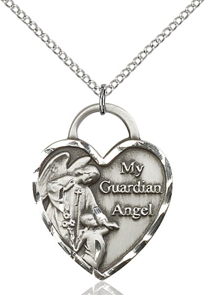 Sterling Silver Guardian Angel, Angel Jewelry Heart Necklace Set