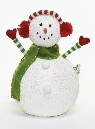 12-inch Musical Snowman With Earmuff