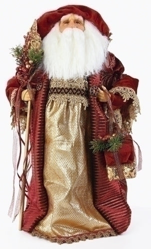 18-inch Gold/Red Santa Treetopper