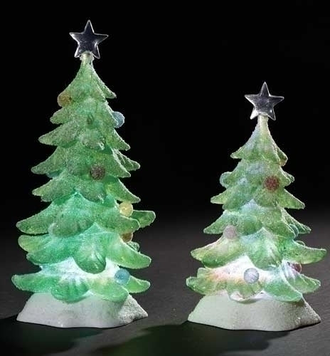 2Pc Saint 9.5-inch LED Tree Sugared