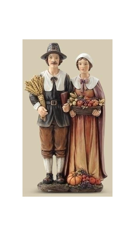 14-inch Pilgrim Couple Figurineure
