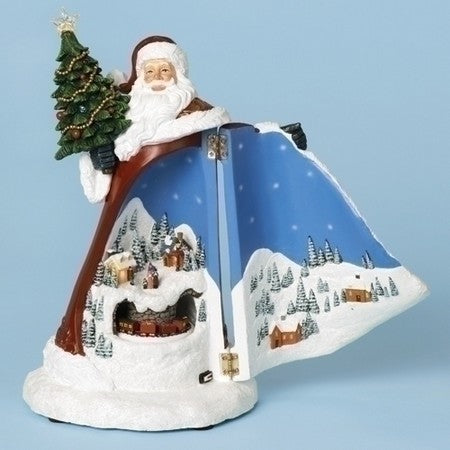 11-inch H Musical Santa Scene In Coat