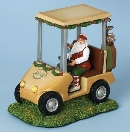 Musical 7-inchH Golf Cart With Santa Figurine