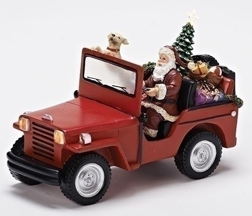 6-inch H Santa In Jeep Figurine Musical