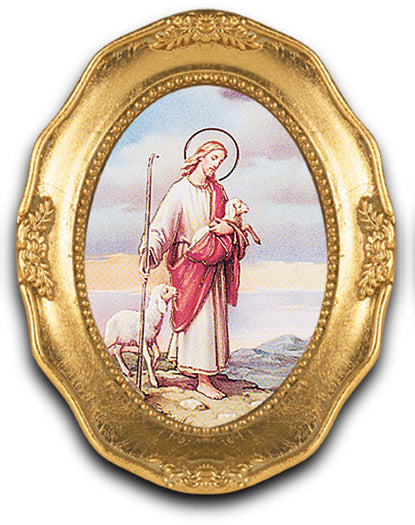 Good Shepherd Gold Leaf Frame 3 1/2 X 4 1/2