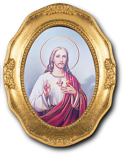 Sacred Heart Gold Leaf Frame 3 1/2 X 4 1/2