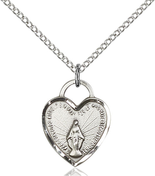 Sterling Silver Miraculous Heart Necklace Set