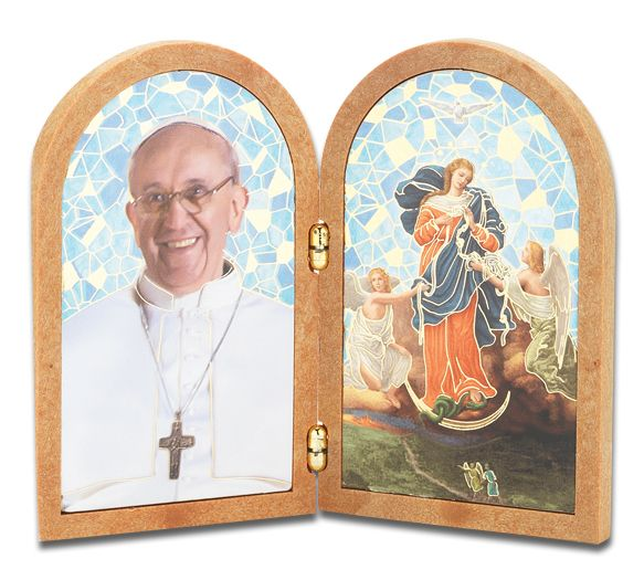 Pope Francis And Our Lady Of Knots Standing Dyptich