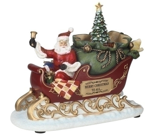 Musical 7-inch LED Santa In Sleigh Figurine