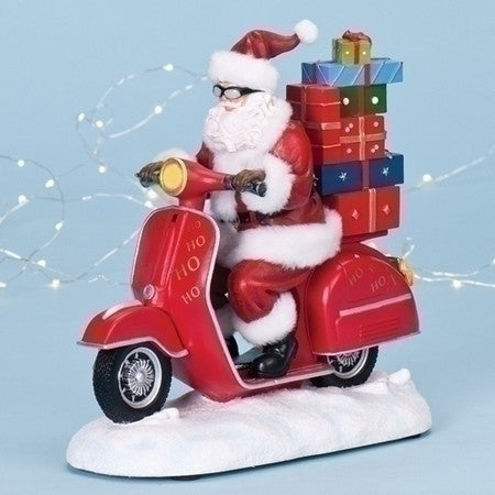 10.5-inch Musical Santa On Scooter Figurine
