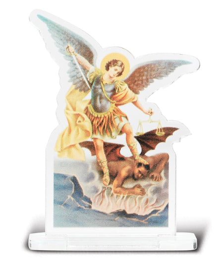 2-inchX2 3/4-inch Saint Michael Statuette With Base 5-Pack