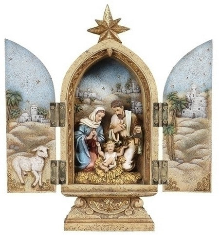 10-inchH Holy Family Triptych Figurineure