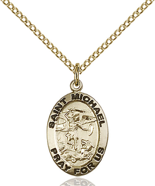 Gold-Filled Saint Michael the Archangel Necklace Set