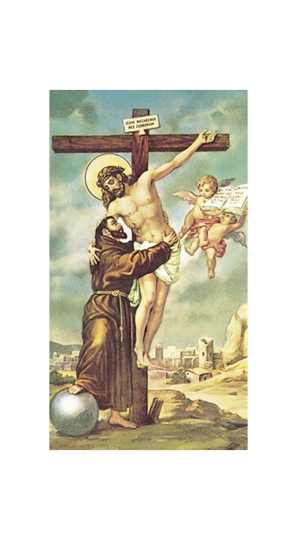 100-Pack - Crucifixion With Saint Francis Holy Card
