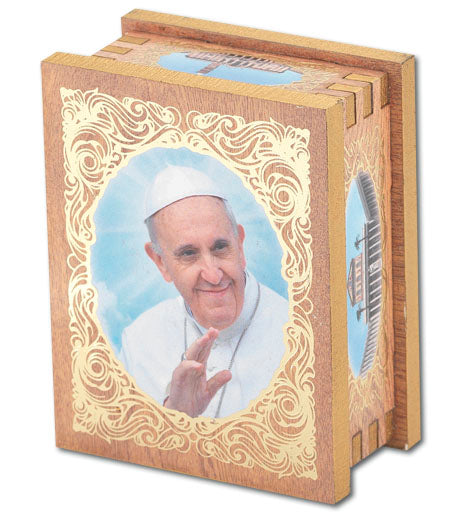 Pope Francis 2X2.75-inch Natural Wood Rectangular Rosary Box