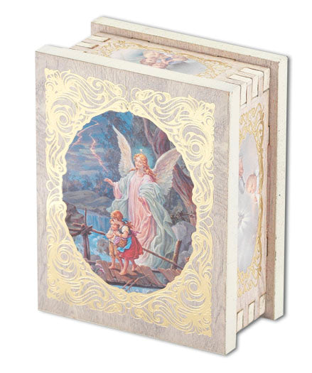 Guardian Angel 2X2.75-inch White Wood Rectangular Rosary Box