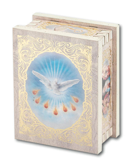 Confirmation 2X2.75-inch White Wood Rectangular Rosary Box