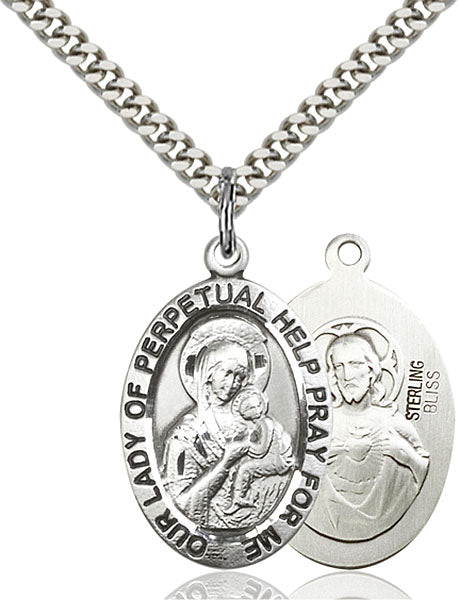 Sterling Silver Our Lady of Perpetual Help Necklace Set