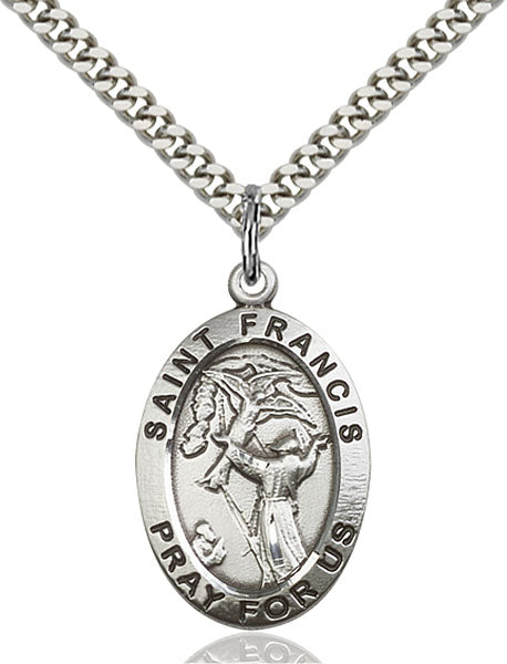 Sterling Silver Saint Francis of Assisi Necklace Set