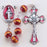 8MM Garnet with Gold Swirl Crystal Rosary with Enameled Cfx/Ctr