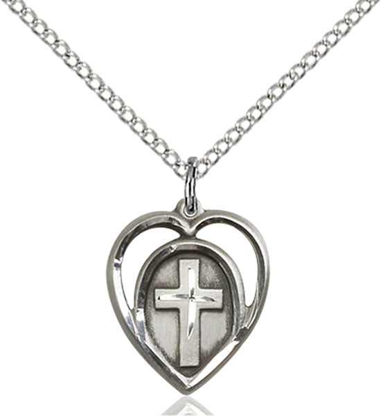 Sterling Silver Heart and Cross Necklace Set
