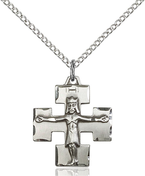 Sterling Silver Modern Crucifix Necklace Set