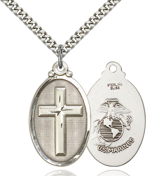 Sterling Silver Cross and Marines Necklace Set