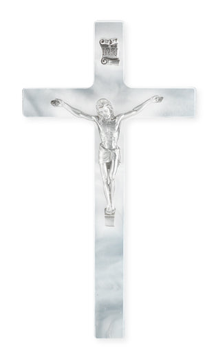 7-inch Pearlized White Cross With Pewter Corpus
