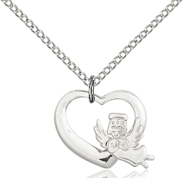 Sterling Silver Heart and Guardian Angel, Angel Jewelry Necklace Set