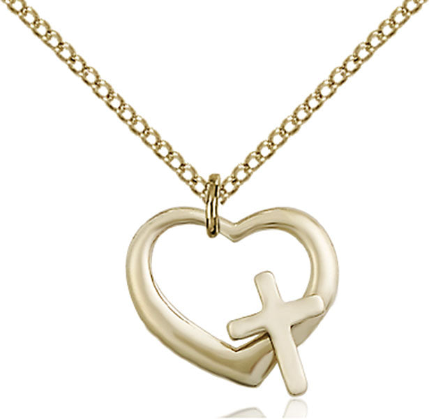 Gold-Filled Heart and Cross Necklace Set
