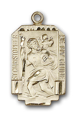 14K Gold Saint Christopher Pendant - Engravable