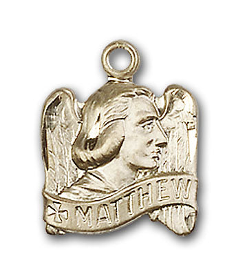 14K Gold Saint Matthew Pendant - Engravable