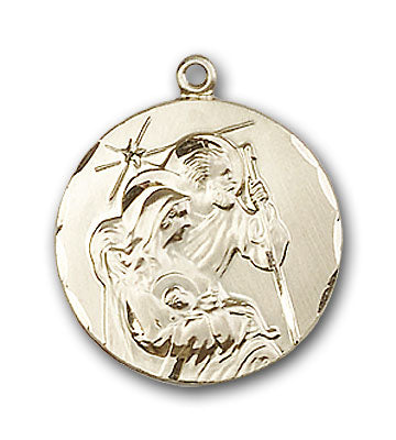 14K Gold Holy Family Pendant - Engravable