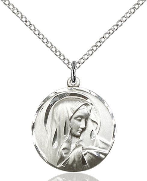 Sterling Silver Sorrowful Mother Necklace Set