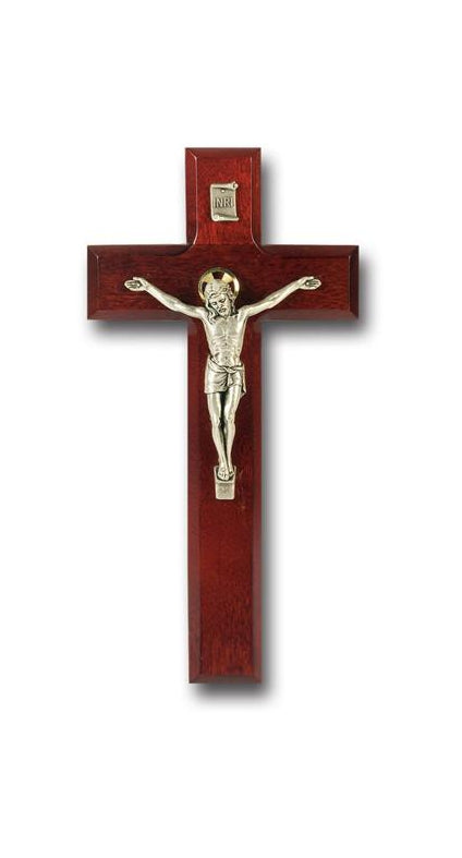 9-inch Dark Cherry Cross with Antique Silver Corpus