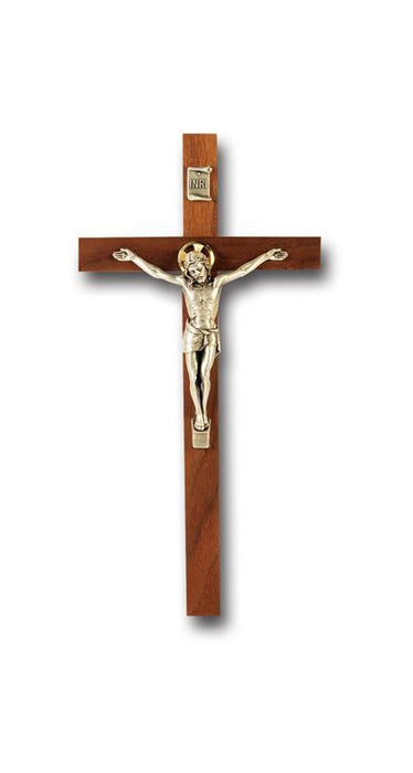 9-inch Walnut Cross With Antique Silver Corpus