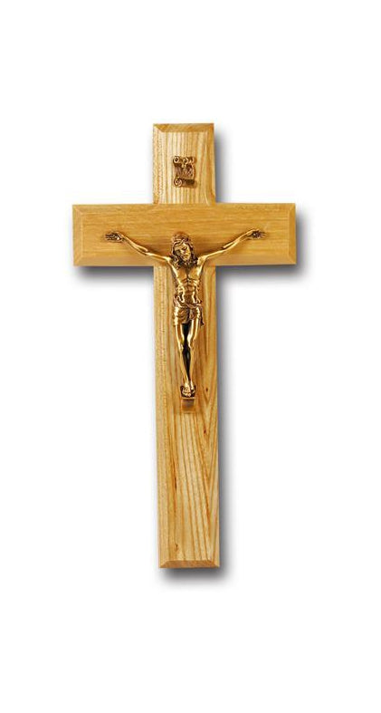 9-inch Oak Cross With Museum Gold Corpus