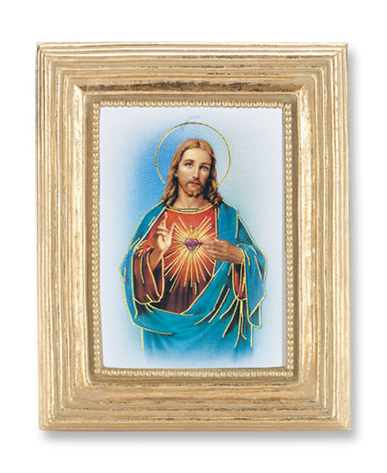 3 3/4-inchX4 1/2-inch Gold Frame Sacred Heart 2.5X3.5-inchPrint