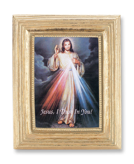 3 3/4-inchX4 1/2-inch Gold Frame Divine Mercy 2.5X3.5-inchPrint