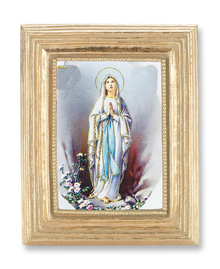 3 3/4-inchX4 1/2-inch Gold Frame Our Lady Of Lourdes 2.5X3.5-inchPrint