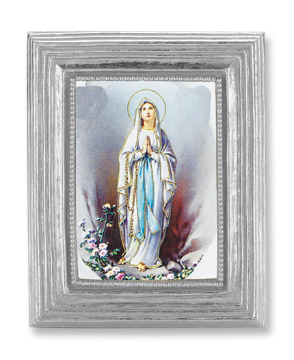 3 3/4-inchX4 1/2-inch Silver Frame Our Lady Of Lourdes 2.5X3.5-inchPrint