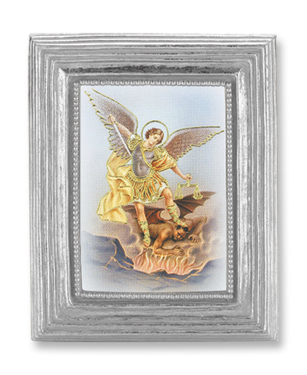 3 3/4-inchX4 1/2-inch Silver Frame Saint Michael 2.5X3.5-inchPrint