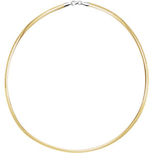 16-inch Reversible Omega Chain - Sterling Silver and 14K Yellow Gold