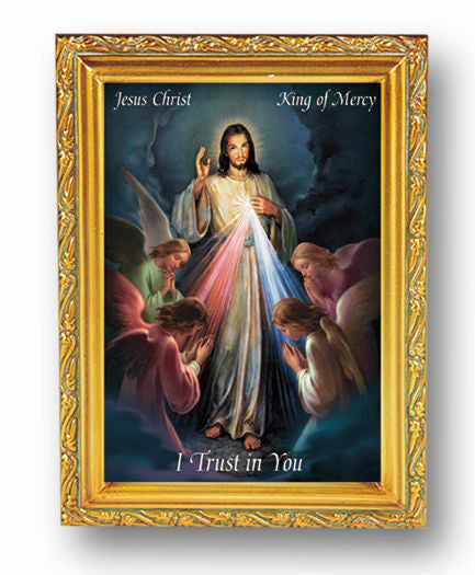 Jesus King Of Mercy Antique Gold Frame 4 1/2 X 6 1/2