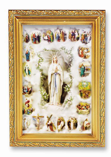 Mysteries Of Rosary Wood Tn Frame 4 1/2 X 6 1/2